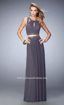Picture of: Two Piece Net Prom Gown with Charcoal Beading in Silver, Style: 22457, Main Picture