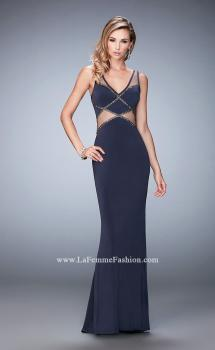 Picture of: Embellished Jersey Prom Dress with Sheer Cut Outs, Style: 22458, Main Picture