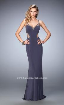 Picture of: Sheer Strap Jersey Prom Dress with Beaded Detail in Silver, Style: 22461, Main Picture