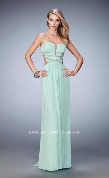 Picture of: Long Prom Gown with Strappy Waistline and Back in Green, Style: 22465, Main Picture