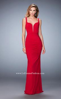 Picture of: Net Gown with Plunging Neckline and Ruched Skirt in Red, Style: 22475, Main Picture