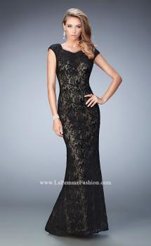 Picture of: Lace Prom gown with Open Back, Train, and Rhinestones in Black, Style: 22479, Main Picture