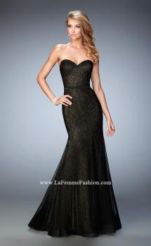 Picture of: Glam Net Mermaid Prom Dress with Gold Shimmer Lining in Black, Style: 22481, Main Picture