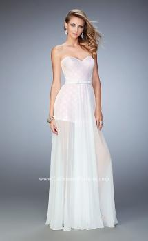 Picture of: Polka Dot Jumper with Long Chiffon Overskirt and Bow in White, Style: 22484, Main Picture