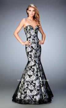 Picture of: Mermaid Gown with Flower Underlay and Rhinestones, Style: 22487, Main Picture