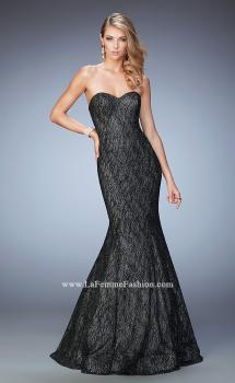 Picture of: Long Prom Gown with Sparkle Net Overlay in Black, Style: 22488, Main Picture
