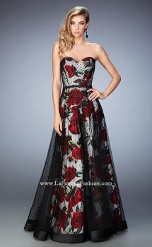 Picture of: A-Line Gown with Flower Printed Lining and Rhinestones, Style: 22489, Main Picture