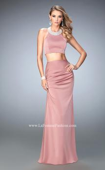Picture of: Two Piece Jersey Prom Dress with Ruched Skirt and Pearls in Pink, Style: 22498, Main Picture
