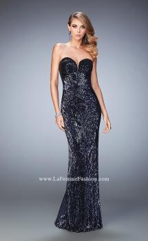 Picture of: Long Sequin Prom Gown with Sweetheart Neckline in Silver, Style: 22500, Main Picture