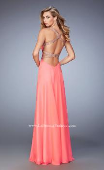 Picture of: Embellished Lace Applique Chiffon Prom Dress in Orange, Style: 22503, Main Picture