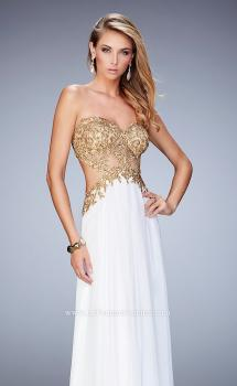 Picture of: Chiffon Prom Dress with Sheer Detail and Lace Applique, Style: 22504, Main Picture