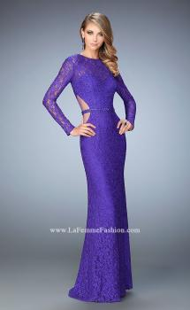 Picture of: Long Sleeve Lace Prom Dress with Rhinestones, Style: 22506, Main Picture