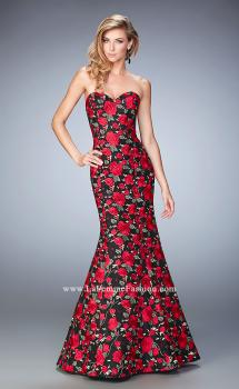 Picture of: Floral Lace Mermaid Gown with Rhinestones in Print, Style: 22507, Main Picture