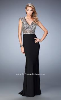 Picture of: Fully Encrusted Jersey Prom Dress with Lace in Black, Style: 22509, Main Picture