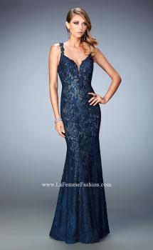 Picture of: Rhinestone Embellished Lace Gown with Open Back in Blue, Style: 22514, Main Picture