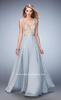Picture of: V Neck Chiffon Prom Dress with Vintage Beading in Silver, Style: 22517, Main Picture