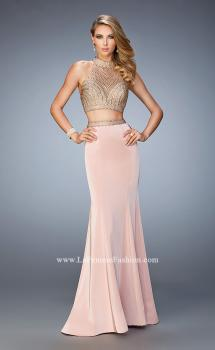 Picture of: Two Piece Studded Prom Dress with Mock Neck in Pink, Style: 22518, Main Picture