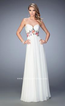Picture of: Floral Accented Chiffon Prom Dress with Rhinestones in White, Style: 22521, Main Picture