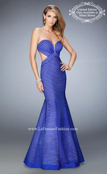 Picture of: Striped Mermaid Prom Gown with Side Cutouts in Blue, Style: 22530, Main Picture