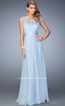 Picture of: Embellished Cap Sleeved Dress with Rhinestones in Blue, Style: 22535, Main Picture