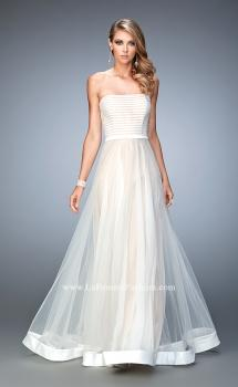 Picture of: Tulle A-line Gown with Striped Bodice and Satin Trim in White, Style: 22536, Main Picture