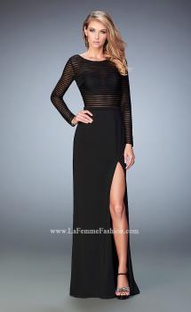 Picture of: Long Sleeve Jersey Dress with Sheer Bodice and Slit in Black, Style: 22539, Main Picture