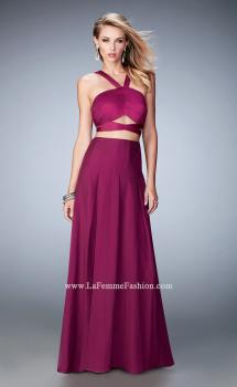 Picture of: Two Piece Prom Dress with Chiffon Skirt and Satin Top in Pink, Style: 22555, Main Picture