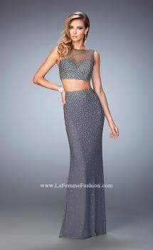 Picture of: Two Piece Net Gown with Mixed Metal Studding, Style: 22567, Main Picture