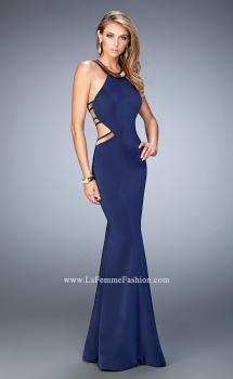 Picture of: Embellished Jersey Prom Dress with Open Sides in Blue, Style: 22568, Main Picture