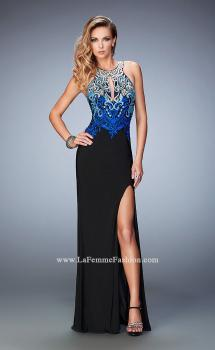 Picture of: Embroidered Jersey Prom Dress with Rhinestones in Black, Style: 22580, Main Picture