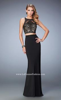 Picture of: Two Piece Dress with Lace Top and Jersey Long Skirt in Black, Style: 22581, Main Picture