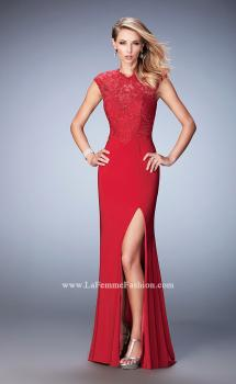 Picture of: Jersey Prom Dress with Tonal Embroidery and Slit in Red, Style: 22585, Main Picture