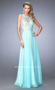 Picture of: Chiffon Prom Gown with Leaf Embroidery, Style: 22586, Main Picture
