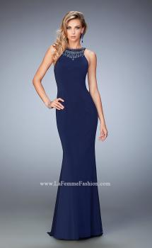 Picture of: Jersey Long Dress with Beaded Neckline and Open Back in Navy, Style: 22589, Main Picture