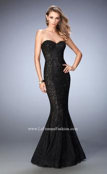 Picture of: Lace Mermaid Prom Dress Gold Shimmer Lining in Black, Style: 22599, Main Picture