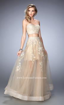 Picture of: Tulle Prom Gown with Gold Beaded and Lace Applique in Nude, Style: 22602, Main Picture