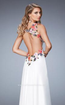 Picture of: Floral Embroidered Chiffon Prom Gown in White, Style: 22610, Main Picture