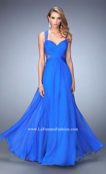Picture of: Long Floral Chiffon Gown with Sweetheart Neckline in Blue, Style: 22612, Main Picture