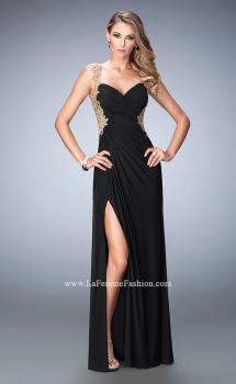 Picture of: Embroidered Net Prom Gown with Open Back in Black, Style: 22616, Main Picture