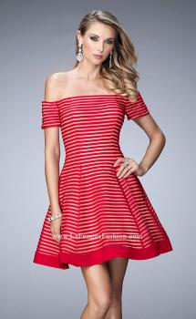 Picture of: Striped Short Dress with Off the Shoulder Neckline, Style: 22621, Main Picture