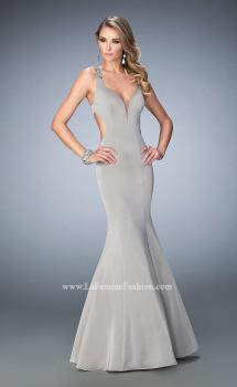 Picture of: Open Back Mermaid Prom Dress with Beaded Straps in Silver, Style: 22631, Main Picture