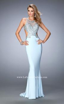 Picture of: Embellished Jersey Gown with Side Cut Outs in Blue, Style: 22642, Main Picture