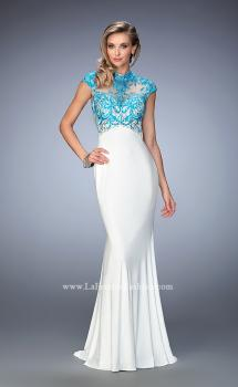Picture of: Long Jersey Gown with mock Neck and Embroidery in White, Style: 22657, Main Picture