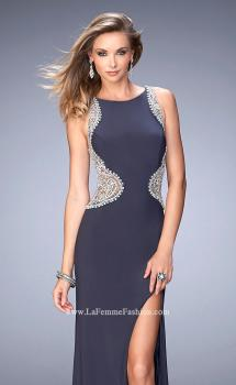 Picture of: Long Beaded Prom Dress with Side Slit and Train in Silver, Style: 22658, Main Picture