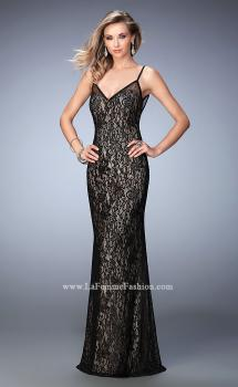 Picture of: Lace Prom Gown with V Neckline and Scoop Back in Black, Style: 22660, Main Picture