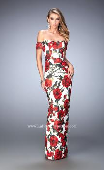 Picture of: Rose Print Off the Shoulder Prom Dress, Style: 22671, Main Picture
