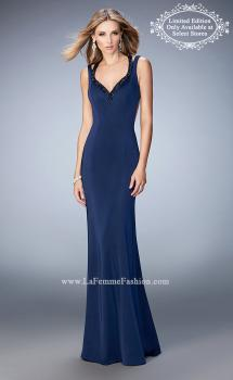 Picture of: Long Jersey Prom Gown with Rhinestone Straps in Blue, Style: 22675, Main Picture