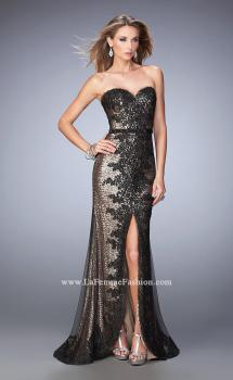 Picture of: Long Prom Dress with Sequin Lace Pattern in Black, Style: 22680, Main Picture