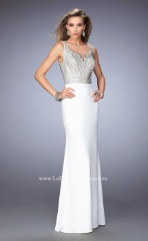 Picture of: Studded Jersey Prom Dress with Scoop Back in White, Style: 22687, Main Picture