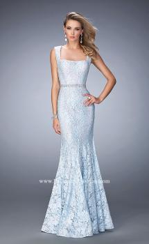 Picture of: Long Mermaid Prom Dress with Beaded Belt in Blue, Style: 22708, Main Picture